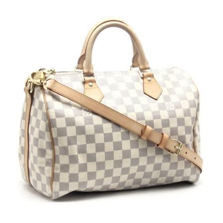 【網購】gohappy 線上快樂購Louis Vuitton LV N41373 Speedy 30 白棋盤格紋附背帶手提包_預購心得愛 買 線上 購