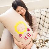 【奶油獅】正版授權-台灣製造-舒適輕柔造型長抱枕-米