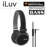iLuv ReF 立體重低音帆布耳罩式耳機-麥克風免持功能(iHP636) 黑