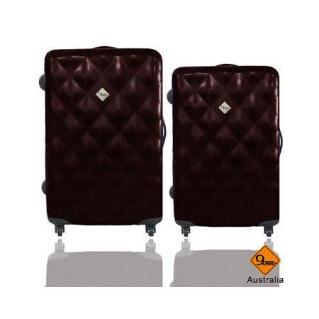 Gate9 菱格亮面28+24吋PC輕硬殼行李箱二件組