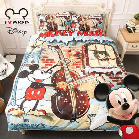 【Disney】米奇協奏曲-雙人四件式床包薄被套組-臺灣製