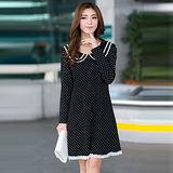 【公主衣櫃 中大尺碼】 3042甜美娃娃蕾絲領洋裝(黑色)