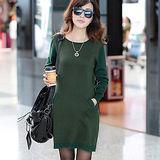 【公主衣櫃 中大尺碼】 703潮流長版針織連衣裙(綠色)