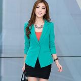 【公主衣櫃 中大尺碼】 5005潮流小西裝外套(綠色)
