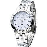 SEIKO 經典時尚環保光動能腕錶-白 SNE025P1