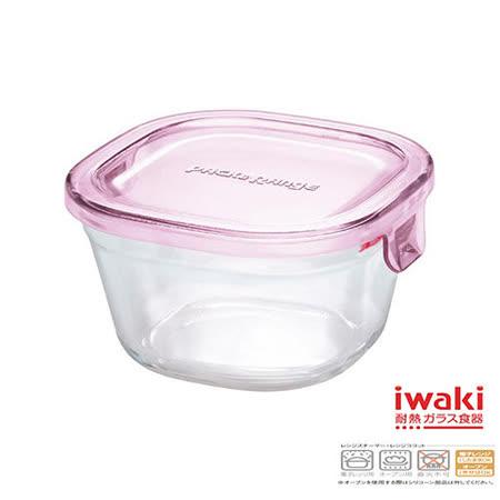 【iwaki】玻璃微波盒 200ml(粉)