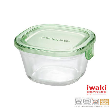 【iwaki】玻璃微波盒 200ml(綠)