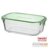 【iwaki】玻璃微波盒 450ml(綠長方款)