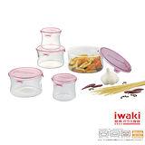 【iwaki】玻璃微波罐環型5入組(粉)