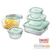 【iwaki】玻璃微波罐角形5入組(綠)