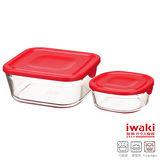 【iwaki】玻璃微波盒2入組(紅)