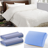 【LooCa】抗菌輕柔枕被超值組(抗菌被+記憶枕x2+午安枕)
