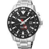 SEIKO Sportura GMT 專業人動電能腕錶(黑/44mm) 5M85-0AA0D