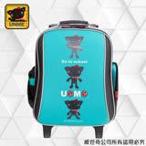 【UNME】減壓省力拉桿書包 附包包雨衣(3308LOGO綠)