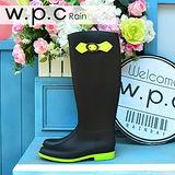 【w.p.c】日系撞色時尚顯瘦扣環長筒雨靴(黑螢光黃)