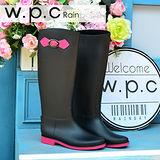 【w.p.c】日系撞色時尚顯瘦扣環長筒雨靴(黑螢光粉)