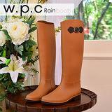 【w.p.c】日系撞色時尚顯瘦扣環長筒雨靴(駝色)