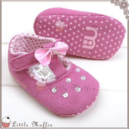 【Little Muffin小馬芬】夢幻紫色蝴蝶結水鑽魔鬼氈娃娃鞋 止滑軟底學步鞋 12/13/15 [SMI318]