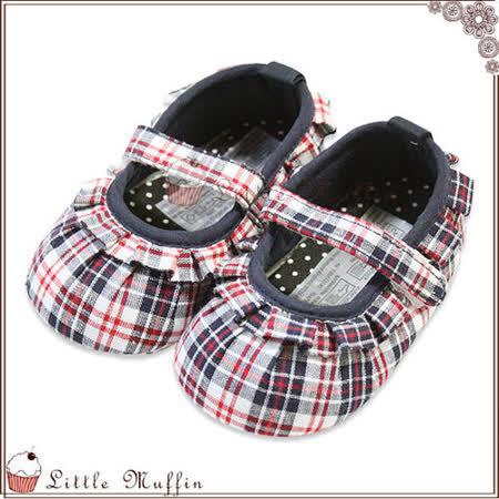 【Little Muffin小馬芬】優雅深藍格滾邊魔鬼氈娃娃鞋 止滑軟底學步鞋 13/15 [SMI316]