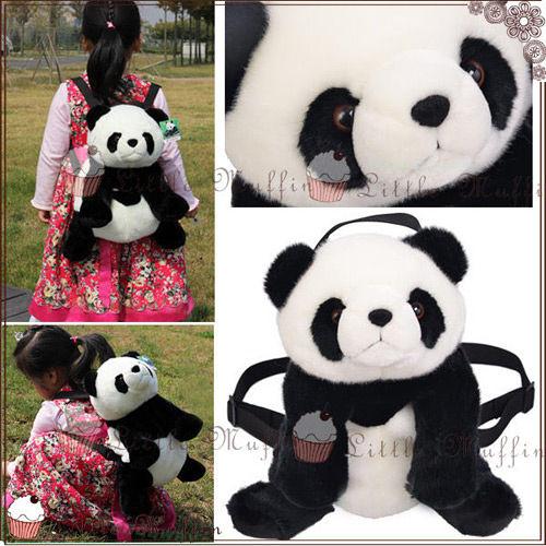 ~Little Muffin小馬芬~立體毛茸茸熊貓娃娃玩偶 雙肩後背包 可調整 團團圓圓