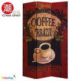 咖啡莊園三片彩繪屏風