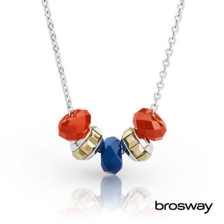 brosway Tres Jolie mini系列 施華洛世奇水鑽不鏽鋼項鍊 橘/金/深藍