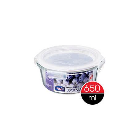 樂扣樂扣微烤玻璃兩用保鮮盒白條圓型650ML(LLG831)-兩件組