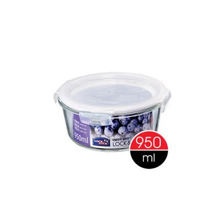 樂扣樂扣微烤玻璃兩用保鮮盒白條圓型950ML(LLG861)-兩件組