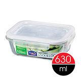 樂扣樂扣微烤兩用玻璃保鮮盒白條長方形630ML(LLG428)-兩件組
