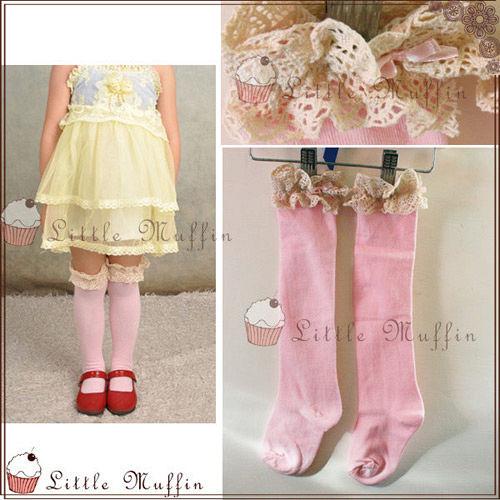 ~Little Muffin小馬芬~森林系女孩 粉紅蕾絲滾邊過膝長筒襪  OTH004