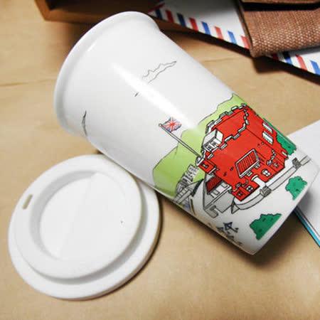 限定!買 淡水紅毛城 雙層陶瓷杯 送 國旗筆袋