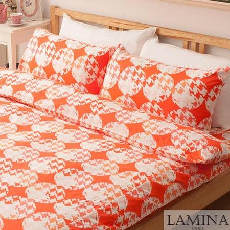 【LAMINA】飛鳥-雙人三件式純棉床包組(紅)