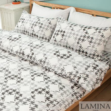 【LAMINA】飛鳥-雙人三件式純棉床包組(灰)