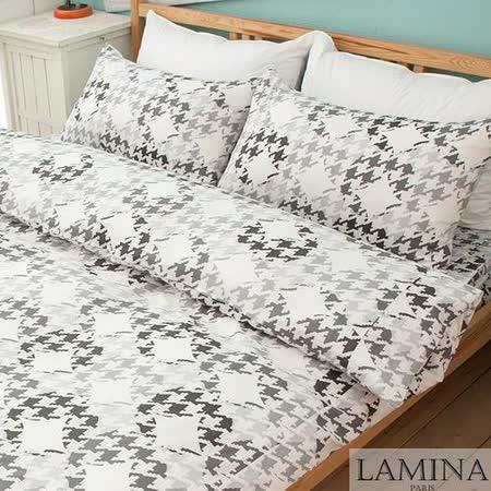 【LAMINA】飛鳥-雙人四件式純棉床包被套組(灰)