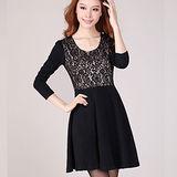 【麗質達人中大碼】2131蕾絲拼接洋裝(黑色)