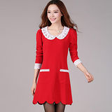 【麗質達人中大碼】2085氣質花邊領斜紋洋裝(紅色)