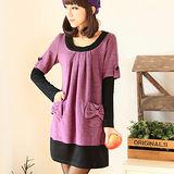 【麗質達人中大碼】3080假二件式洋裝(紫色)