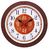 JCY招財進寶好運咖啡色框掛鐘W-6892