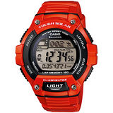 CASIO 潮色運動風太陽能電子錶(亮紅錶帶)W-S220C-4A