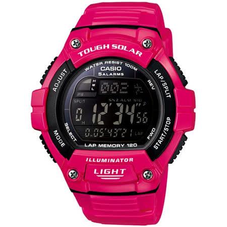 CASIO 潮色運動風太陽能電子錶(桃紅錶帶)W-S220C-4B