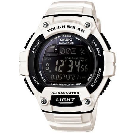 CASIO 潮色運動風太陽能電子錶(亮白錶帶)W-S220C-7B