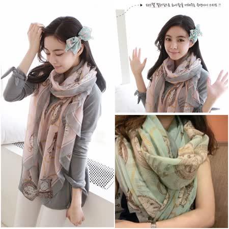 【韓系女衫】韓國棉麻加大圍巾披肩絲巾 (淺綠色)