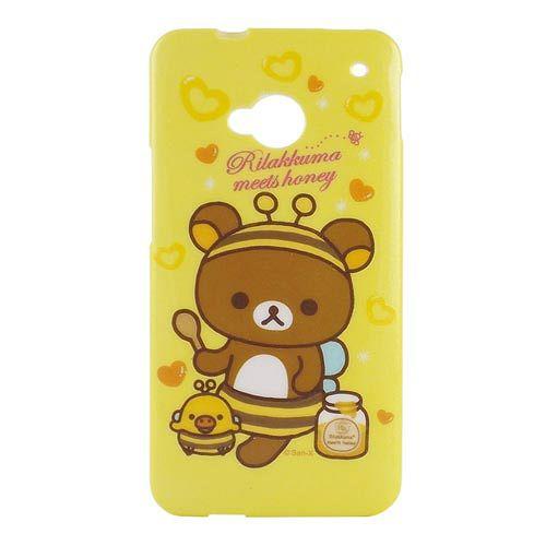 Rilakkuma 拉拉熊懶懶熊 NEW HTC ONE 浮雕晶鑽保護套~小蜜蜂
