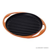 【LE CREUSET】鑄鐵雙耳圓烤盤 25cm (火焰橘)