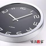 【生活采家】簡雅38cm銀框靜音掛鐘#14023