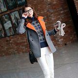 【韓系女衫 中大尺碼】時尚修身撞色設計款毛呢中長版外套