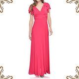【摩達客】美國進口Landmark 深V桃紅浪漫荷葉袖紡紗長裙派對及地齊地長禮服/洋裝(含禮盒)