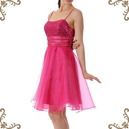 【摩達客】美國進口Landmark細肩帶桃粉紅星閃蓬紗裙派對小禮服/洋裝(含禮盒/附絲巾)