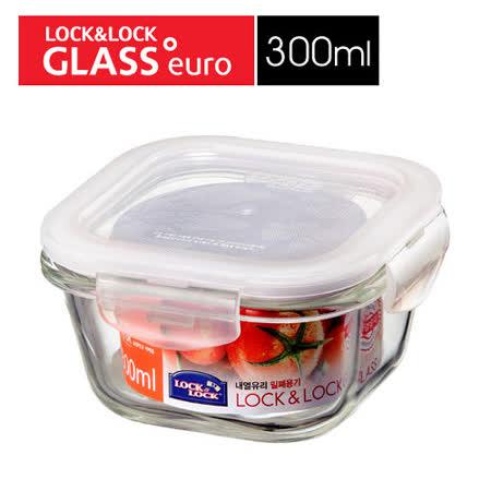 樂扣樂扣玻璃微烤兩用保鮮盒-白條方型300ML(LLG205)-兩件組