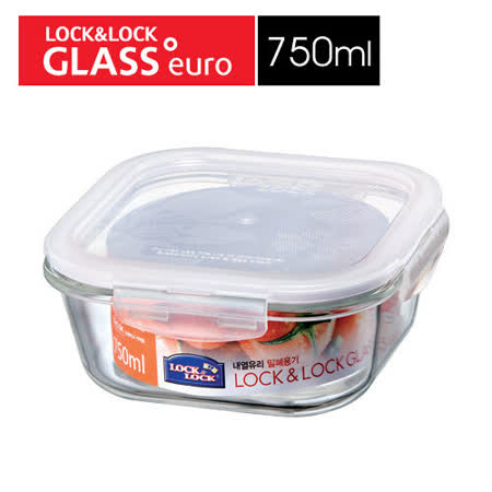 樂扣樂扣玻璃微烤兩用保鮮盒-白條方型750ML(LLG224)-兩件組